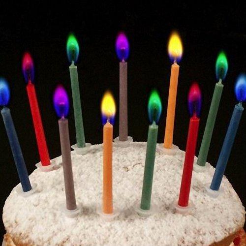 Velas de cumpleaños con llamas de colores marca Find-me-a-gift