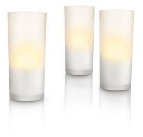 Set de 3 velas LED Imageo Candlelights, color blanco marca Philips
