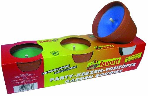 Velas antimosquitos de colores en macetas de barro