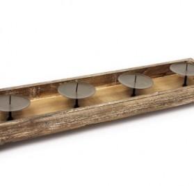 Portavelas de madera con apliques de metal HSL Nature