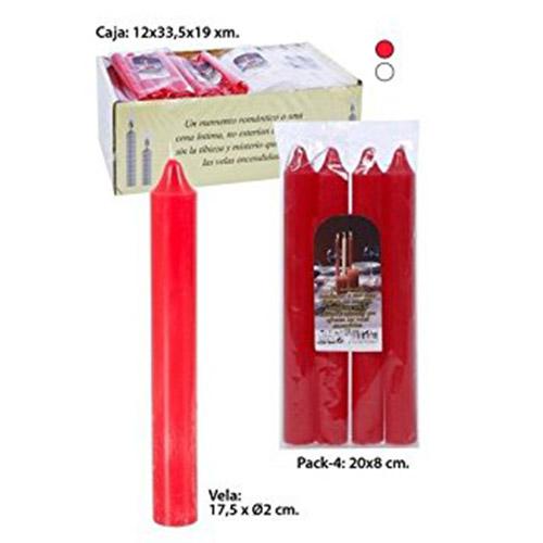 Juego de 4 velas Bujia roja de VIDAL