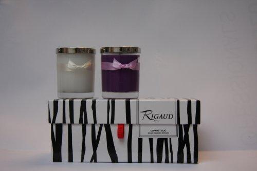 Velas aromáticas 2 unidades en estuche con aroma a Lilas y Gardénia colores malva y blanco COF200052 de Rigaud