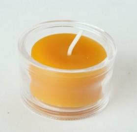 Vela de té de cera de abeja 100% pura en portavela de cristal