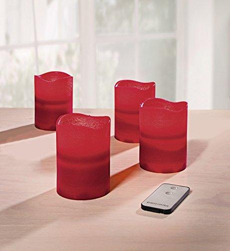 4 velas LED color rojo burdeos