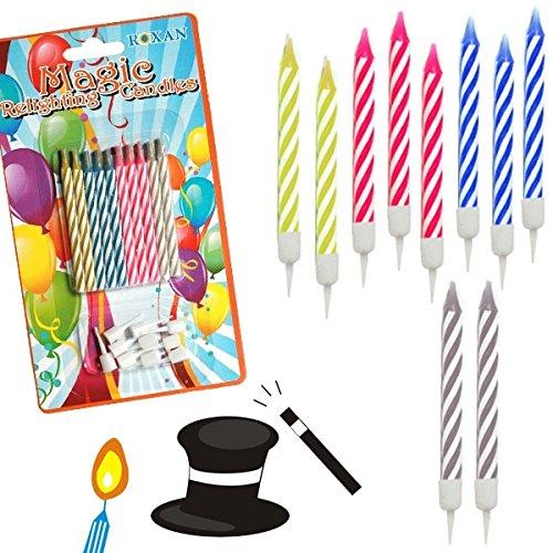 Juego de 10 velas de cumpleaños que no se apagan