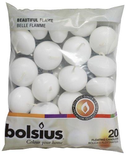 Pack de 20 velas flotantes blancas de Bolsius