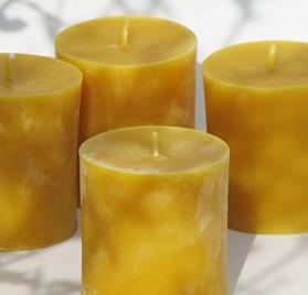 4 velas de cera de abeja de 7,5 cm Figura Santa