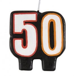 Vela de cumpleaños con el número 50 de Unique Party