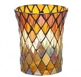 Portavelas de vidrio multicolor con diseño de Joy Ting Charde