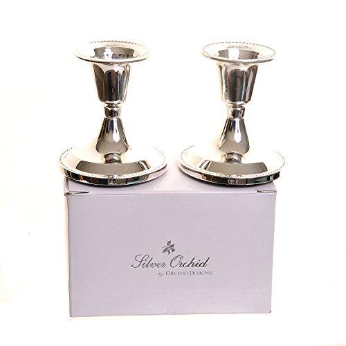 2 candelabros de plata chapada de 7 cm Silver Orchid