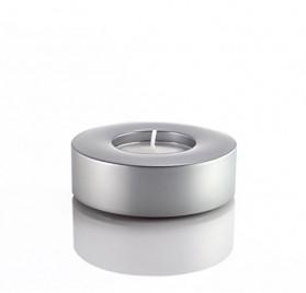 Portavelas gris plata de aluminio de Carus