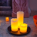 3 velas LED Lights4fun con bandeja y piedras decorativas