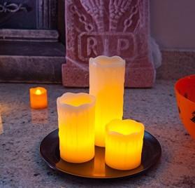 3 velas LED Lights4fun con bandeja y piedras decorativas