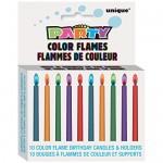 Set de 10 velas de cumpleaños con llamas de colores de Unique Party