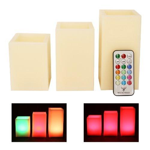 Pack de 3 velas cuadradas con aroma a vainilla y control remoto Mooncandles