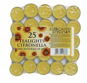 Pack de 25 velas de té aromáticas con efecto repelente