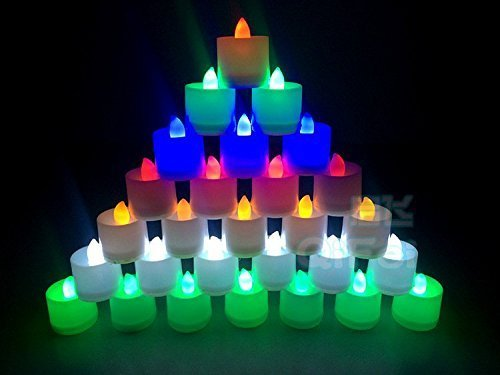 Pack de 24 velas LED Rightwell de 6 colores diferentes