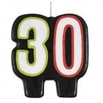 Vela de cumpleaños con el número 30 de Unique Party