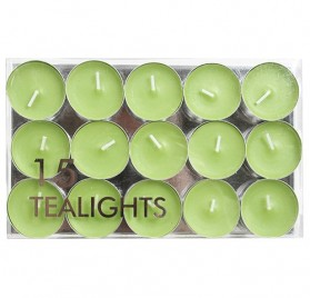 Pack de 15 velas pequeñas Village Candle sin aroma, color verde