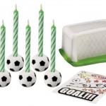 6 velas de cumpleaños de fútbol con portería y cromo