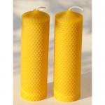 2 velas de cera de abeja de 18 cm tipo panal de miel