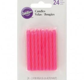24 velas de cumpleaños Wilton de 6 cm, color rosa