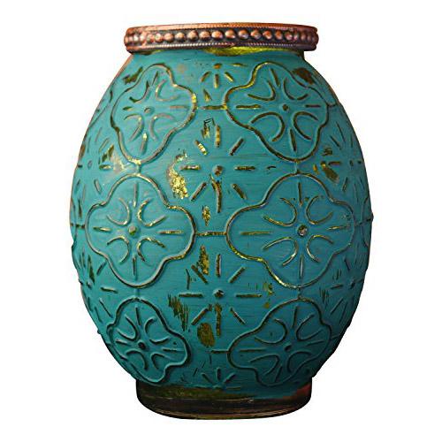 Portavelas de cristal verde Marrakech de 13 cm