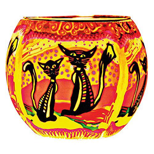 Portavelas de vidrio con gatos de Kerzenfarm