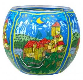 Portavelas de vidrio multicolor con castillo español